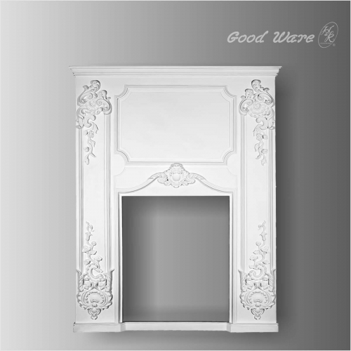 Antique decorative molding above fireplace
