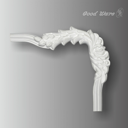Decorative floral panel molding corner