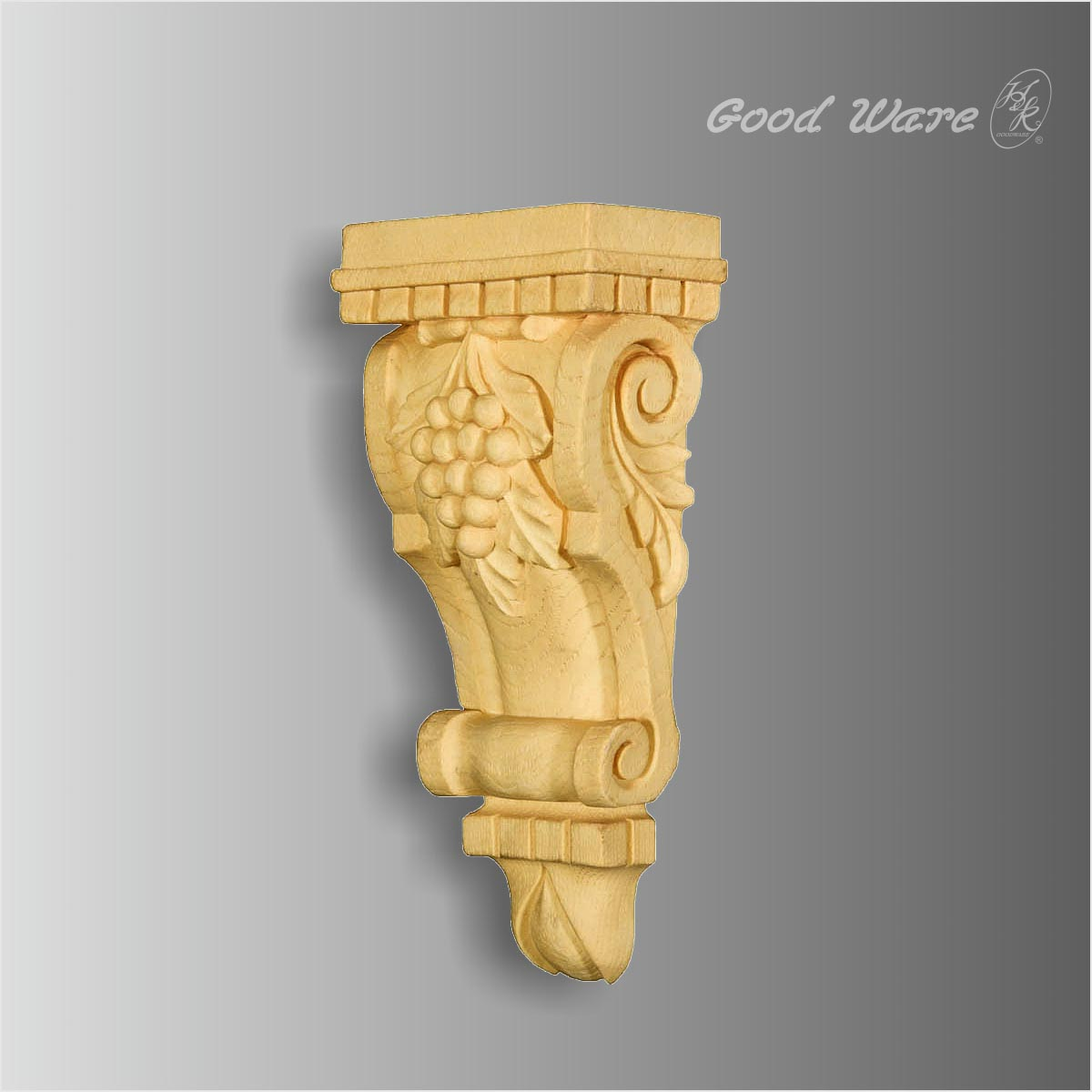 Polyurethane faux wood dentil grape corbels