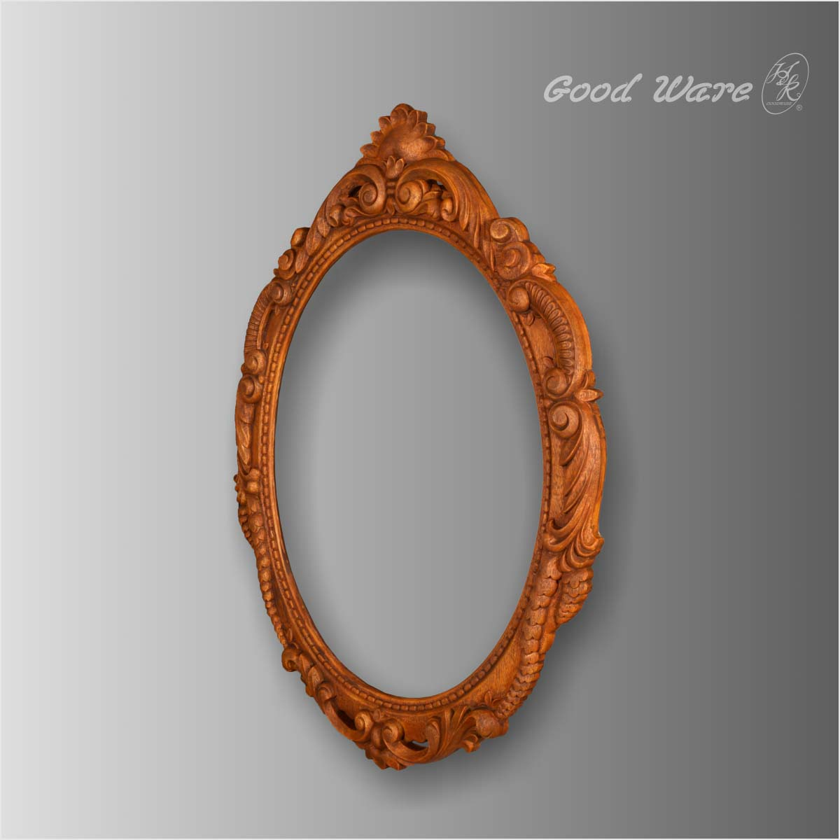Faux wood decorative round mirror frame