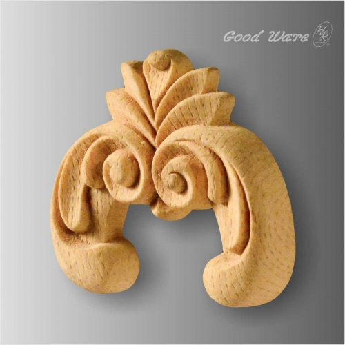 Faux wood scroll appliques for cabinet