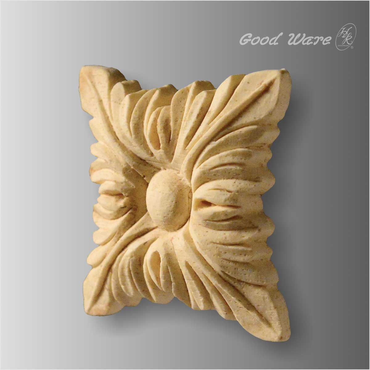 Square acanthus leaf onlay for cabinet