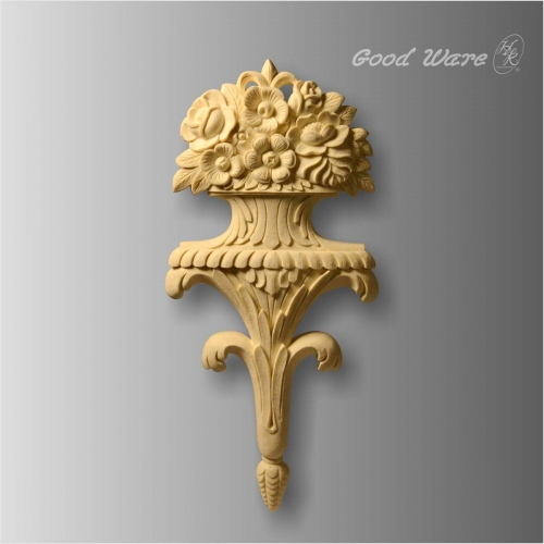 Faux wood decorative floral large appliques