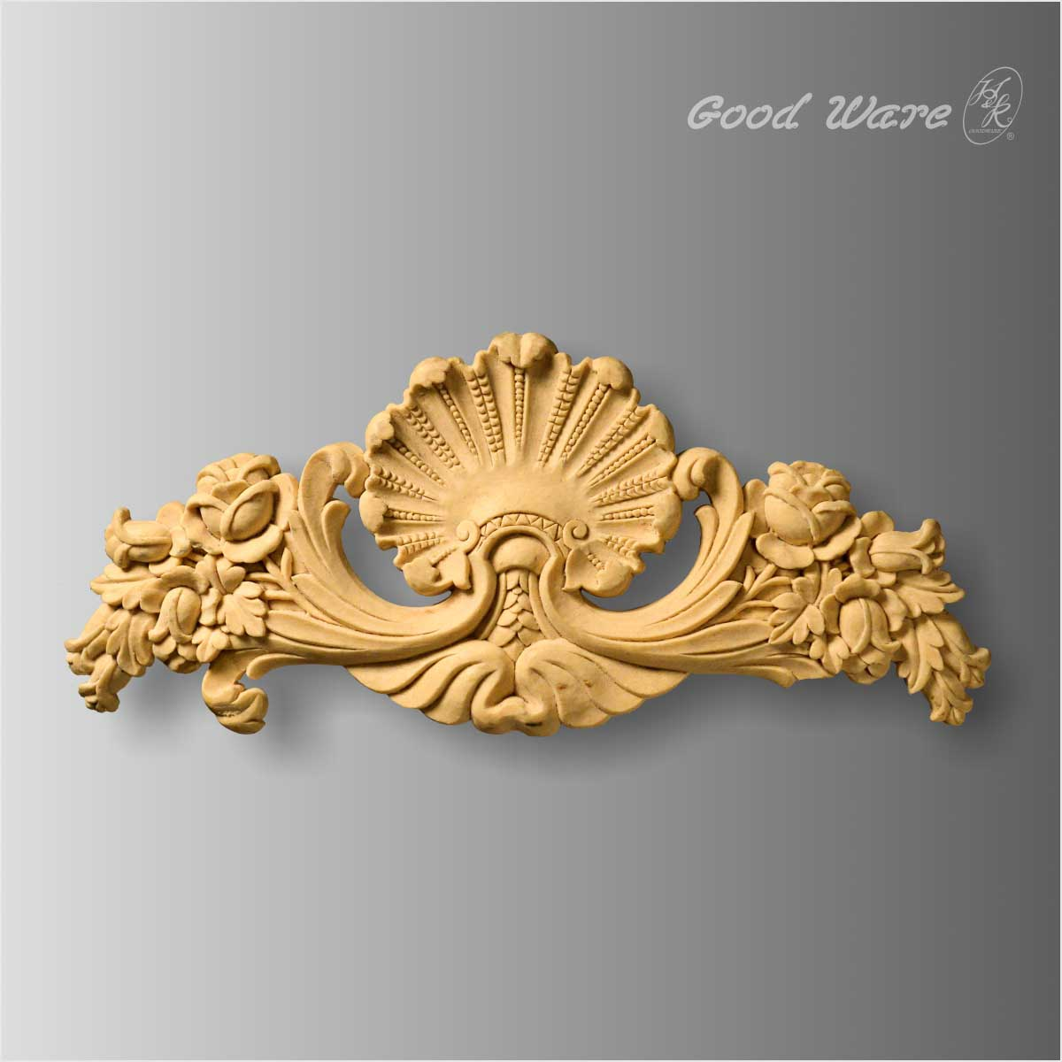 Faux wood shell and floral onlay applique