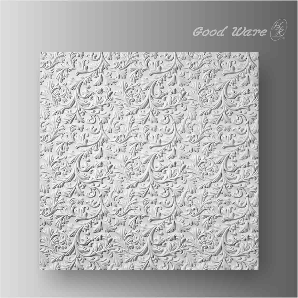 Polyurethane white scroll leaf wall panel decor