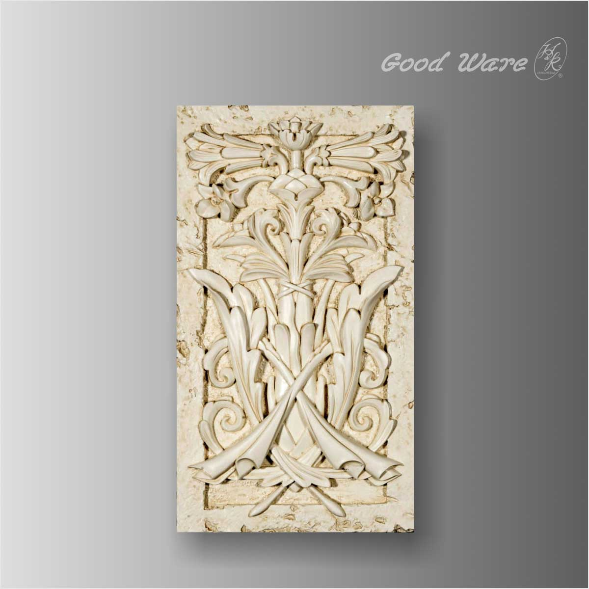 Polyurethane faux stone floral french wall panel