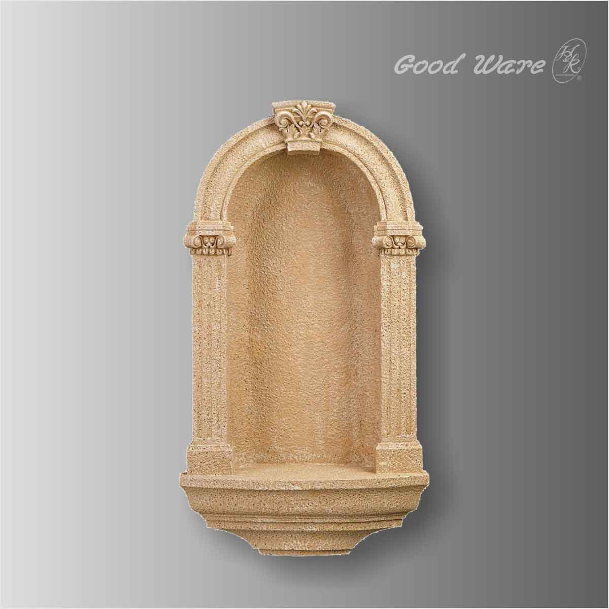 Polyurethane faux stone arched wall niche shelves